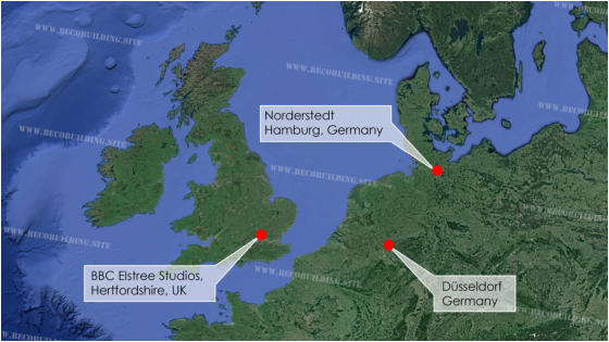 Arial map illustrating both German and UK filming locations used throughout Series 1.